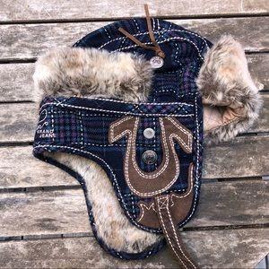 True religion wool plaid trapper hat size M